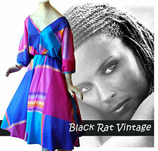 Vintage 1970's Psychedelic Rockabilly Swing Abstract Print Retro Spring Dress 12