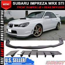 Fit For 06-07 Subaru Impreza WRX STI CS Style Front Bumper Lip+Rear Diffuser 2PC