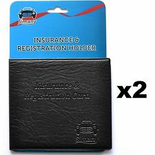 "2 Black CAR INSURANCE REGISTRATION HOLDER WALLET 5.25""x4.6""Embossed Faux-Leather"