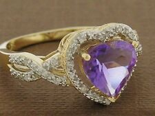 R206- Genuine 9ct SOLID Gold NATURAL Amethyst & Diamond Ring LOVE HEART size O