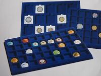 Cargo L6 Blue Felt Coin Tray Square Round Slab Compartments Assorted Sizes