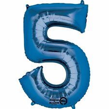 "Number 5 Blue Giant Jumbo 34"" SuperShape Foil Helium Balloon Birthday"