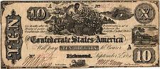 "1861 $10.00 Confederate States of America ""Negro Picking Cotton"" T29-237 Vf"
