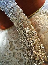 "17"" LONG Wedding Bridal Sash Belt, Crystal Pearl Wedding Dress Sash Belt"
