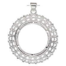 8793FN Setting Bezel Pendant for 38mm Cameo Cab Cabochon Silver Silvertone 1 Qty