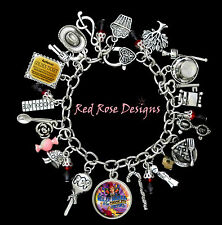 ~ WILLY WONKA AND THE CHOCOLATE FACTORY THEMED CHARM BRACELET, CHARLIE AND THE ~