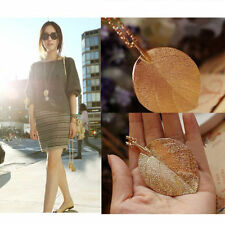 Pop Women Gold Leaf Pendant Statement Chunky Long Sweater Chain Necklace Jewelry
