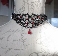 ORNATE GOTHIC VICTORIAN SET Red Rhinestone Black Velvet Choker Collar Necklace