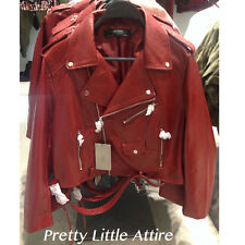 ZARA FAUX LEATHER BIKER LEATHER EFFECT JACKET RED SIZE L REF. 3046/221 AW16