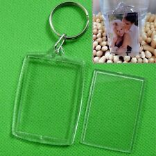 5Pcs Clear Acrylic Blank Photo Picture Frame Key Ring Keychain Keyring Gift BBUS