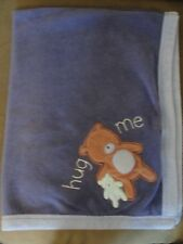 Carter's Baby Blanket All About a Bear HUG ME Blue