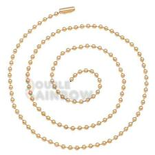 """C21 30""""inch Men stainless steel Gold 3mm ball bead necklace chain link"""