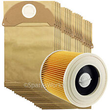 Karcher Wet and Dry Vacuum Filter Cartridge + 20 Hoover Bags A2064PT WD2.240