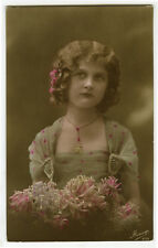 1910s Cute Young POUTY GIRL tinted French photo postcard