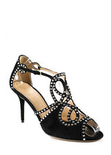 NEW CHARLOTTE OLYMPIA Shanglow Onyx Black Suede Crystals Heels Sz 40 $1425 RS190