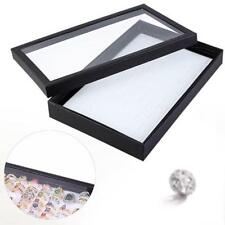 Black 100 Slots Ring earring Box Display Case White Stand Storage Organizer TS