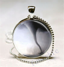 Vintage Tornado Cabochon Silver plated Glass Ball Chain Pendant Necklace d#5