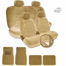 PREMIUM GRADE BEIGE VELOUR FABRIC CAR SEAT MATS STEERING COVERS SET FOR CHEVY