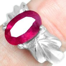 925 Sterling Silver Top Natural Blood Red Ruby (GF) 6.25 US Ring Jewelry svr0422