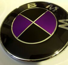 MATTE BLACK & Satin Chrome Purple full Set Vinyl Sticker Overlay All BMW Emblems