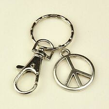 1 x Peace Sign Tibetan Style Keyring - Split Ring & Swivel Clasp Silver 86mm