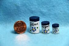 Dollhouse Miniature Wooden Canister Set Blue Flowers IM65349