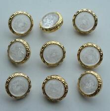 set  9 gold tone clear medusa designer style buttons greek key edge 14.5mm 15mm