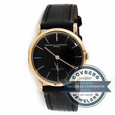 Vacheron Constantin Vintage Manual 32mm Yellow Gold Black Dial Strap Watch