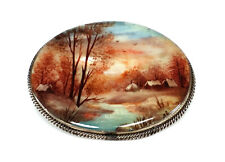 RUSSIAN FEDOSKINO HAND PAINTED MOTHER OF PEARL SHELL PIN BROOCH SCENIC LANDSCAPE