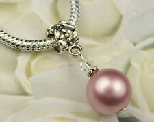 Powder Rose Crystal Pearl Dangle Charm Bead European Style w Swarovski Elements