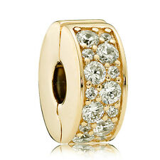 Authentic PANDORA Shining Elegance Spacer Clip Charm 24K Gold Plated 791817CZ