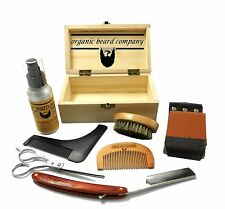 Organic Beard Wooden Boxed Luxury Shaving Grooming Kit FREE UK Post