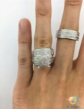 10K White Gold His And Her Diamond Engagement Bridal Wedding Trio Ring Set