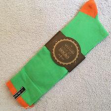 Da Uomo COPPIA JAZZY due Calzini arancio brillante verde medio misure UK 6-9 Calzini Di Cotone