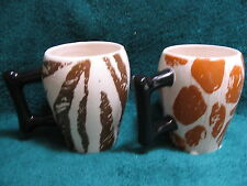 "Safari Theme Mug Pair - Giraffe / Zebra Print ""Certified International"" R Waites"