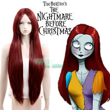 The Nightmare Before Christmas Sally Long Straight Dark Red Anime Cosplay Wig