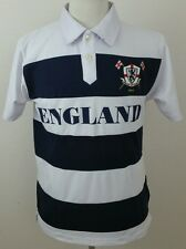 ENGLAND Victorious Polo Shirt Mens Small S Navy & White Stripe #10 (Q3)