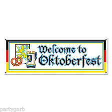 Welcome to Oktoberfest Banner Jumbo Sign Party Yard Art German Beer Fest Pretzel