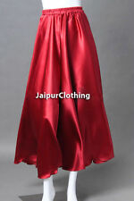 Red - Satin Shiny Belly Dance Half Circle Skirt Tribal Jupe Flamenco Gypsy