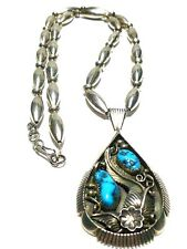 H. JONES NATIVE AMERICAN NAVAJO STERLING SILVER CYLINDER BEAD TURQUOISE NECKLACE