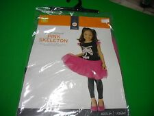 New ! Halloween  Girl's Youth Costume Pink Skelton Includes Dress  Size S