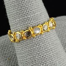 18k Solid Yellow Gold Rose Cut Champagne Diamond Eternity Ring Size 7