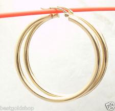"3mm X 45mm 1 3/4"" Large Plain Shiny Hoop Earrings REAL 14K Yellow Gold"