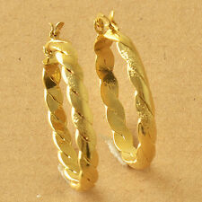 NEW  Braided Yellow Gold Filled Womens Hoop Earrings F6041