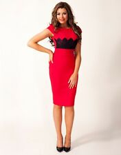 Stunning Jessica Wright Lipsy Red Lace Appliqué Midi Size 12 Dress Party