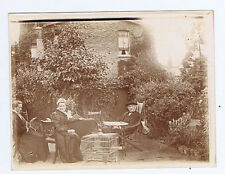 Edwardian Couple in Garden with Bird Cage - Antique Photograph c1905