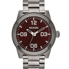 Nixon Corporal SS Watch gray gunmetal deep burgundy