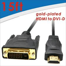 HDMI to DVI-D (24+1 Pin) Monitor Display Adapter Cable Male/Male PC HD HDTV 15FT