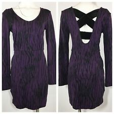 BCBG Bodycon Dress M Medium Purple Zebra Animal Crisscross Cutout Back Mini
