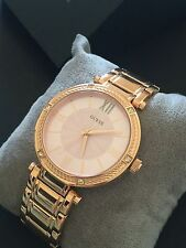 Guess Women's Rose Gold Tone Bracelet Watch  w/ Crystals Pink Dial NWT U0636L2